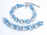 Lisner 1960s blue thermoset rhinestone necklace bracelet set