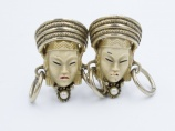 Selro Selini 1950s Asian Princess mask vintage clip earrings