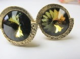1960s original headlight watermelon rivoli golden cufflinks