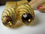 1960s original vintage chunky golden mesh wrap around cufflinks
