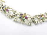 1950s white enamel coloured rhinestone vintage Jewelcraft bracelet