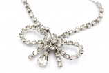 Vintage 1950s ice rhinestone bow wedding necklace
