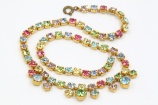 Vintage 1950s multicoloured pastel rhinestone necklace