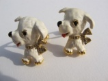 Vintage enamel dog puppy rhinestone cufflinks - unsigned Sphinx