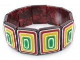 Lea Stein signed vintage geometric bangle bracelet 1960s