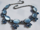 1950s moonglow satin glass blue signed Regency vintage rhinestone necklace