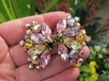 Huge Weiss Pink Olive Yellow vintage clip on earrings