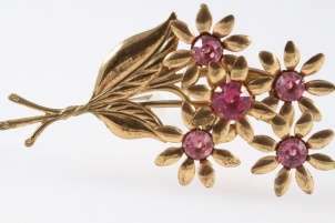 c1940s art nouveau large gilt flower brooch pink rhinestones